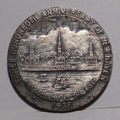 1938 New Haven ,CT 300th Anniversary Silver Medal , AU
