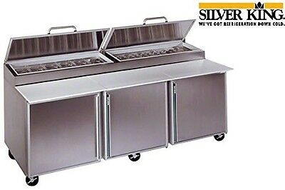 """Silver King Refrigerated Pizza Prep Table 92"""" Front Breathing 12 Pan Model Skpz9"""