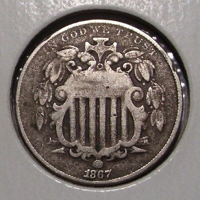 1867 Shield Nickel , Without Rays , Fine details