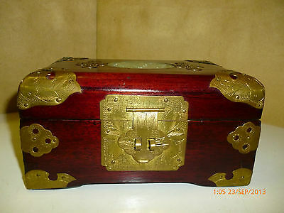 Chinese Rosewood & Faux Jade inlay Jewelry Box with Brass Accents