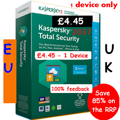 Kaspersky TOTAL internet Security 2017 1 Device 1 year licence Code + links