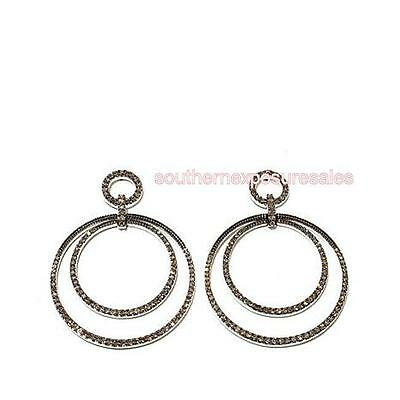 Rarities With Carol Brodie 1.25ctw Champagne Diamond Silver Double Hoop Earrings