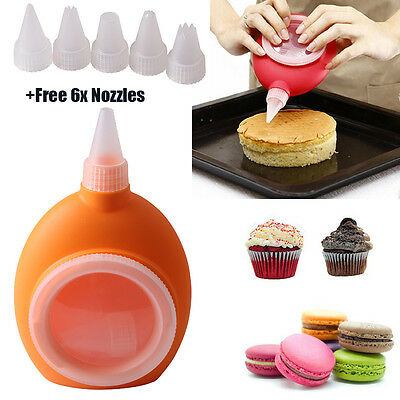 Silicone Macaroon Pen +5 Pcs Icing Piping Nozzle Pastry Decorating Cake Macaron