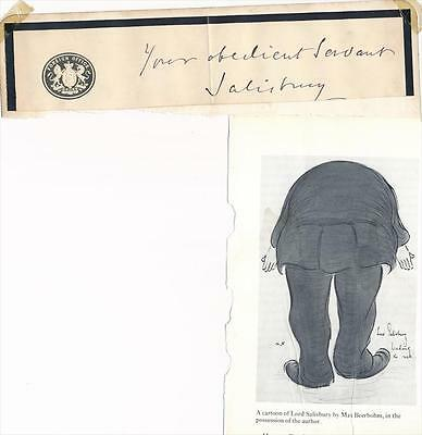 Prime Minister of Great Britain Lord Salisbury- Signature With Caricature