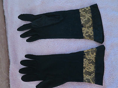 Vintage black Gold Taffeta Evening Gloves by KAYSER made in the usa