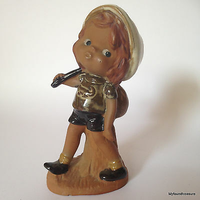Vintage Hand Painted Terracotta Figurine - Girl with White Cap - Made in Japan