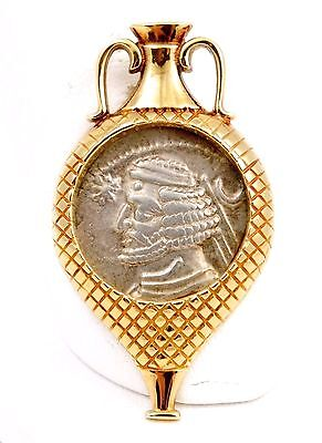 57-38 BC King Orodes II Greek Drachm Silver Coin in 14k Gold Vase Pendant 10g