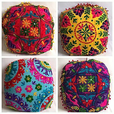 Large Round Floor Pillows Indian Suzani Throw Cushion Covers Bohemian Poufs 25""