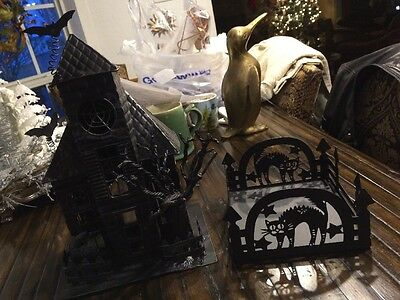 Metal Halloween Manor Candle Holder And Napkin Holder Set