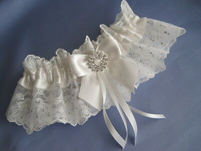 Personalised Ivory Lace Wedding Bridal Garter With Diamante + Lucky Sixpence Pkt