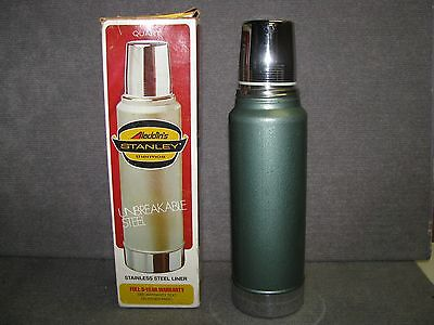 "Vintage 1976 Aladdin Stanley 1 Quart Thermos "" Unbreakable Steel "" In  Box"