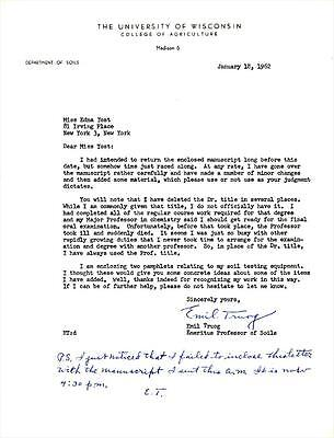 Emil Truog- Rare Signed Letter from 1962 from University of Wisconsin