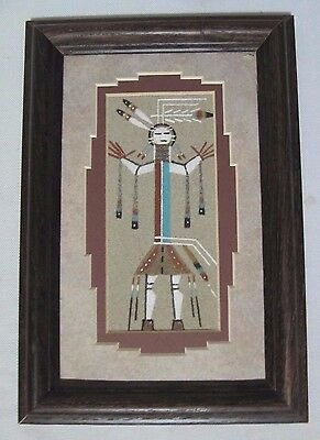 "Framed & Matted Authentic Signed Navajo Sand Painting 6.5"" X 9.5"""