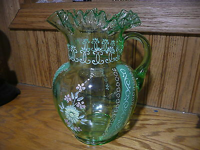 Vintage Hand Blown Green Glass Flower Enamel Design Pitcher With Ruffle Top