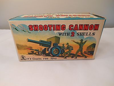Vintage 1950s Cragstan Military Shooting Cannon W/Shells Tin Toy Mint in Box