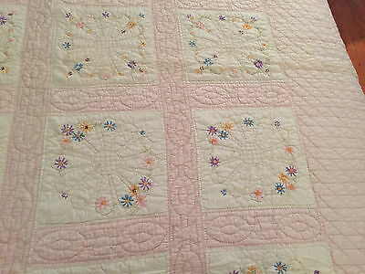 Beautiful Vintage Full Size Handmade Embroidered Pink Quilt from the 1940s