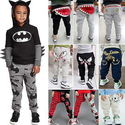 Kids Boys Girls Toddler Harem Pants Casual Jogger Pants Trousers Elastic Bottoms