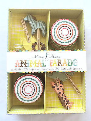 Cupcake Cases and Toppers Kit - Animal Parade for baby showers and toddlers
