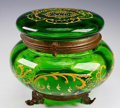 Green Enameled Bohemian Glass Metal Mounted Antique Trinket Dresser Box