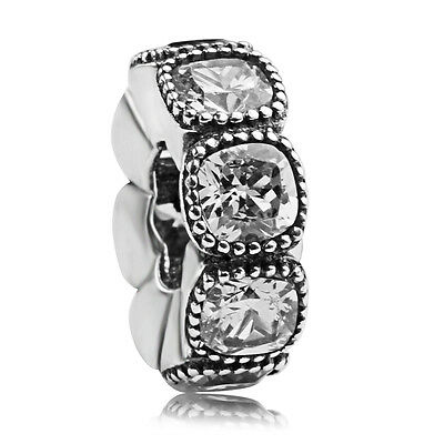 925 sterling silver Alluring Cushion Clear CZ Spacer European Charm Fit bracelet