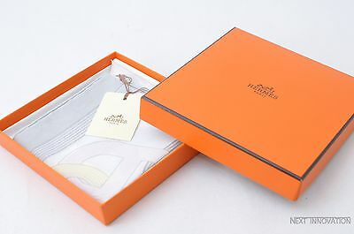 "Authentic HERMES Handkerchief ""CIRCUIT 24 FAUBOURG"" Cotton Grey R012"