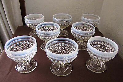 8 Anchor Hocking Opalescent Moonstone Hobnail Sherbet Cups/Champagne Glasses