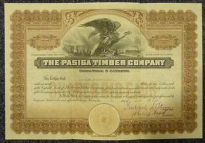 The Pasiga Timber Company Stock Certificate 1920 Chicago, Illinois
