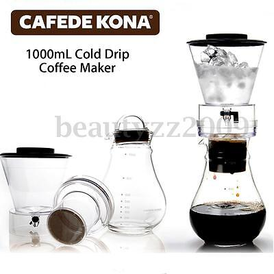 1000mL Glass Cold Iced Drip Brew Coffee Maker Pot Pour Over Coffeemaker 5-8 Cups