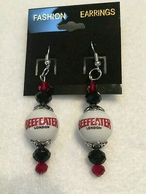 Beefeater Earrings Handcrafted Glass Beaded  Bartender Dangle Beef Eater Gin