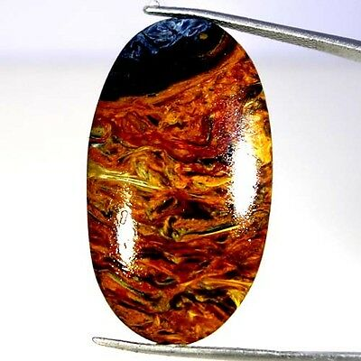 31.70Cts. 100% NATURAL CHATOYANT GOLDEN PIETERSITE OVAL CABOCHON FINE GEMSTONES