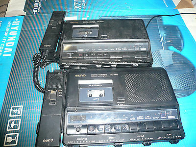 LOT OF 2 Sanyo TRC-6400 Micro Cassette Recorder Dictating Transcriber System