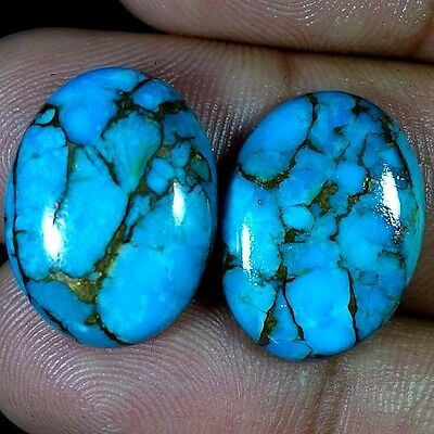 28.60Cts. Natural Sky Blue Turquoise Oval Cabochon Matched Pair Loose Gemstone