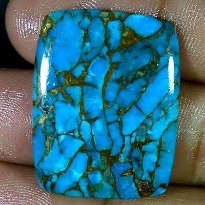 37.15Cts NATURAL SKY BLUE COPPER TURQUOISE CUSHION CABOCHON SPIDER WEB GEMSTONES