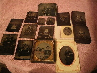 Lot of 15 Antique Tin Type Pictures One is a Colored Cut Out 3D Type w/frame