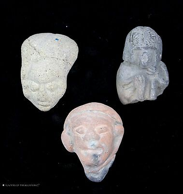 179) 3 Ancient Pre Columbian Jamacoaque Pottery Fragment Head Figure Artifact