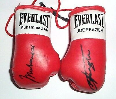 Muhammad Ali V Joe Frazier Autographed Mini Boxing gloves (collectable)
