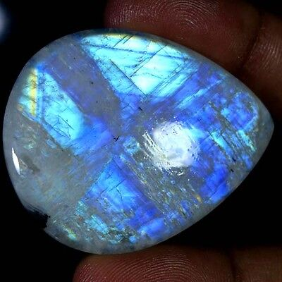109.50Ct 100% NATURAL RAINBOW FIRE MOONSTONE PEAR CABOCHON AAA QUALITY GEMSTONES