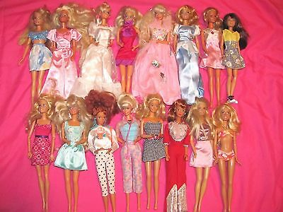 Big Lot Of 16 Barbie Dolls With Clothes And Some Shoes~Some Vintage