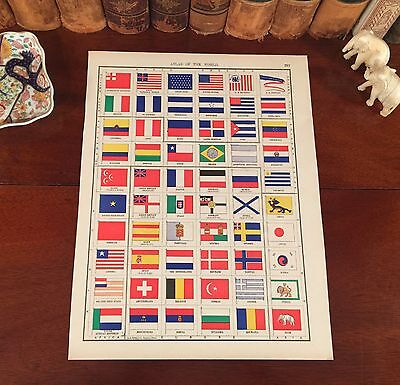 Handsome Original 1898 Antique FLAGS of WORLD NATIONS Engraved Atlas Map Print