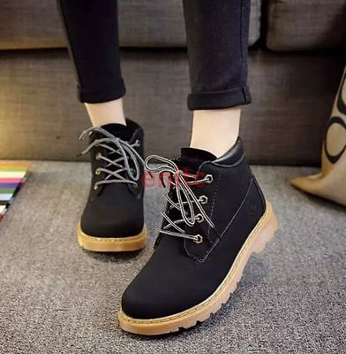 2016 Winter British Round Toe Women Ankle Working Boots High Top Shoes Black US7