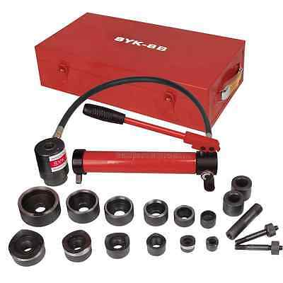 Pneumatic 10 Ton Air Hydraulic Knockout Punch Drive Hole Complete Set Metal Case
