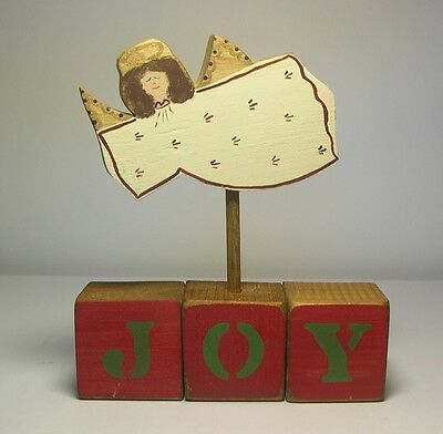 "Vintage Folk art Handmade wood Flying ANGEL atop 3 cubes SPELLING ""JOY"""