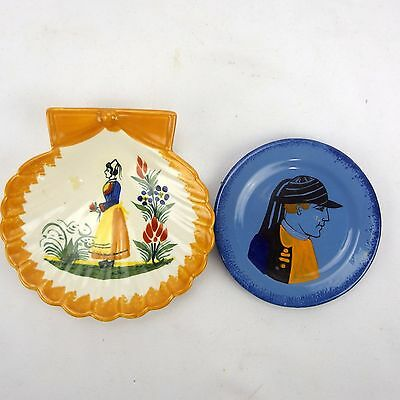 Small Quimper Faience French Scallop Dish & Blue Teraluete Plate