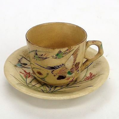 Antique Japanese Banko Ware Teacup & Saucer Grayware Hand Painted Birds Signed