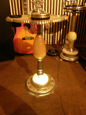ANTIQUE Art Deco LIGHTED SMOKERS STAND TABLE CHROME ASHTRAY w LIGHT