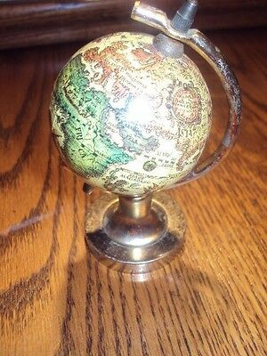 Vintage Unique Minature World Globe With Metal Gold Stand-Marked Japan