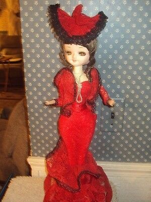 "Vintage Music Box Doll-Large Eyes-Detailed Red Dress-Rotates-20"" Tall-Nice!"