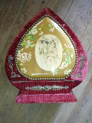 Antique Victorian Women's CELLULOID VELVET HEART Vanity Dresser Box Ring Brush