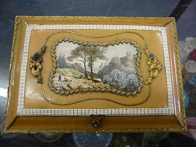 OLD Antique Victorian CELLULOID Brass CALLING Business CARD Case Dresser Box !!!