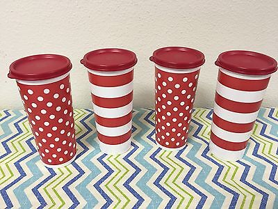 Tupperware Straight Sided Tumblers Set of 4 Red w/ White 16 oz New